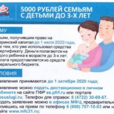 5000 рублей семьям с детьми до 3-х лет